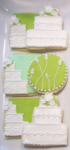 Wedding Cookies, Sugar & Meringue - love the round one! Fancy Cookies, Cut Out Cookies, Cute Cookies, Cupcake Cookies, Wedding Shower Cookies, Wedding Cake Cookies, Bridal Shower, Bolacha Cookies, Galletas Cookies