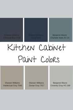 Painting your kitchen cabinets is a budget-friendly way to update your kitchen. Consider using one of these popular kitchen cabinet paint colors to complete the transformation. Blue Kitchen Cabinets, Kitchen Cabinet Design, Painting Kitchen Cabinets, Kitchen Redo, Interior Design Kitchen, Repainted Kitchen Cabinets, Kitchen Makeovers, Kitchen Countertops, Kitchen Ideas