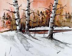 Original Watercolor Painting A Rustic Sunset