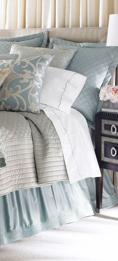 Shop luxury bedding sets and bedding collections at Horchow. Browse our incredible selection of full, queen, and king size luxury bedding sets. Bedroom Makeover, Home Bedroom, Gorgeous Bedrooms, Bedroom Design, Home Decor, Bed, Luxury Bedding, Beautiful Bedding, Bedding Sets