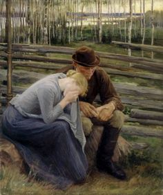 Albert Edelfelt - Sorrow, Variation of the Illustration for the Poem At the Fair of Vernamo , Sorrow - A II 814 - Finnish National Gallery - Category:Albert Edelfelt - Wikimedia Commons