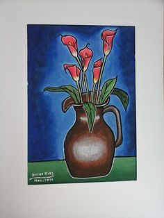 Jarrón Flores - acrilico