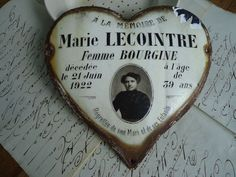 """Extremely Rare, Antique """"French, Enameled Heart Memorial Plaque"""" Dated 1922"""