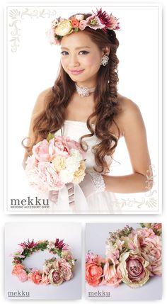 【花冠】カラフルフラワー ピンク/ウェディングアクセサリー~mekku~【メック】