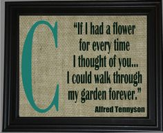 8x10 Garden Quote about Love  Tennyson  Custom by TheBurlapBroad, $40.00