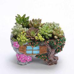 Fairy Garden Miniature Broken Bucket Flower Pot Cottage Vertical Sculpture Planter Grey