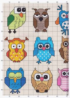 Owls (1 of 2) -- free cross stitch pattern