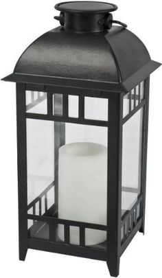 Paradise GL28965BK Solar Flickering LED Metal Lantern Outdoor Light, Black by Paradise. $21.17. This attractive Paradise solar lantern with a flickering amber LED light will add a nice decor element to any patio or garden area.  It is an 11-Inch tall and 5.4 inch wide basket in a black finish.  It is safe, with no wiring required.  It is ideal for creating decorative effects throughout the garden.  It is powered by the sun to light up automatically at night and save ener...