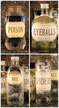 Martha Stewart Halloween Apothecary labels- DIY Decoupage project. Make in minutes! fynesdesigns.com #MSHalloween
