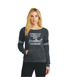 Football Sweatshirt Silver Foil Stressed Blessed Football Obsessed Football Mom Hoodie Football Season Foil Shirt AA9583