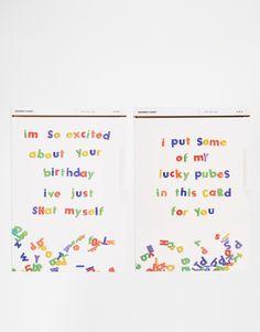 Set mit Grußkarten mit witzigen Designs innen unbedruckt Lieferung mit Umschlag Zweierset