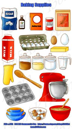Baking Supplies Clipart Pack Kitchen Cooking by on Etsy Baking Flour, Baking Pans, Kitchen Clipart, Gourmet Recipes, Healthy Recipes, 1 Stick Of Butter, Baking Supplies, World Recipes, Food Print