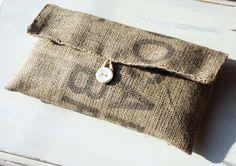 Handmade Coffee Bean Sack Cloth Bag // Burlap by AnthiLeoniDecor