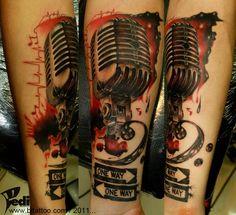Old microphone,One way. by Pedi on DeviantArt Old Microphone, Microphone Tattoo, Mic Tattoo, Home Tattoo, Skull Tattoos, Body Art Tattoos, Tatoos, Trash Polka Tattoos, Music Mic