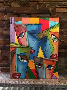 """Teatro"" acrylic on canvas - Art Painting Pintura Graffiti, Tableau Pop Art, Cubist Art, Abstract Face Art, African Paintings, Arte Pop, Pastel Art, Love Art, Canvas Art"