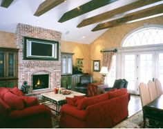 exposed beam ceiling in family room