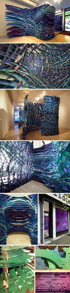 New York and Los Angeles based architectural firm FreelandBuck, has created an installation titled Slipstream. Slipstream translates a 2-dimensional digital line drawing into 3-dimensional space. The installation is a single drawing extruded through the gallery space and cut away to produce a set of interconnected spaces.