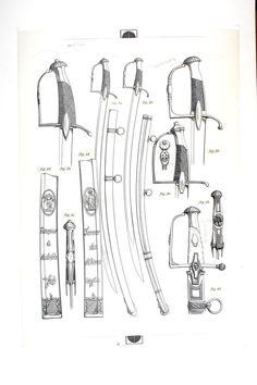 MONTURES A CALOTTE ET BRANCHE SIMPLE, Sabres des officiers d'infanterie de 1800 à 1820; planche 1, TOME XIX, 1er fascicule 1971.