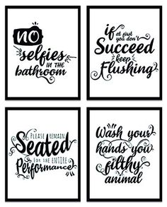 Funny Bathroom Decor, Bathroom Humor, Bathroom Wall Decor, Bathroom Signs, Wall Art Sets, Wall Art Prints, Poster Prints, Posters, Modern Farmhouse Bathroom