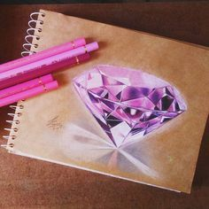 Introduction to Pencil Drawing Supplies & Techniques Color pencils drawing of a pink diamond. The Pink Panther The post Introduction to Pencil Drawing Supplies & Techniques appeared first on Ruby Sanders. Amazing Drawings, Realistic Drawings, Cute Drawings, Pencil Drawings, Diamond Drawing, Diamond Art, Diamond Sketch, Diamond Rings, Jewellery Sketches