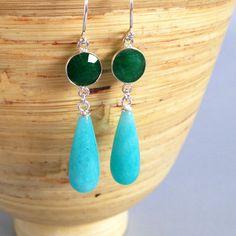 Stone Earrings Amazonite Stone Earrings Green Jade by AinaKai