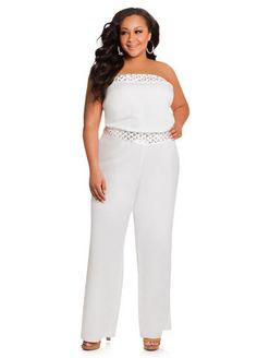 e55deb92bd22 plus size strapless white jumpsuit