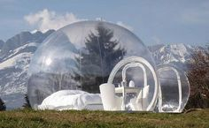 Don't burst my bubble, ok! ~Inflatable architecture designs for instant refuge | Designbuzz  What a cool camping tent to see the stars.