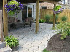 Precast Flagstone Patio Under Deck traditional patio