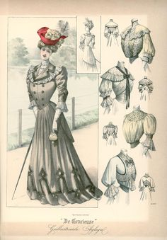 [De Gracieuse] Wandeltoilet en blouses (April 1905)
