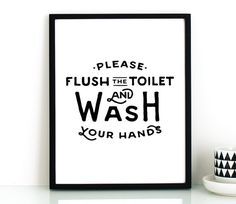 Bathroom Signs Please Flush toilet poster - flush - printable bathroom sign, toilet sign