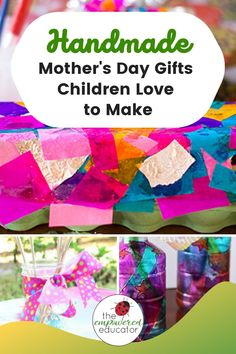 Instead of spending money why not help children create something special with one of these easy Mother's Day gift projects. Simple Gifts, Easy Gifts, Gifts For Kids, Handmade Gifts For Grandma, Handmade Picture Frames, How Many Kids, Child Love, Flower Cards, Mother Day Gifts