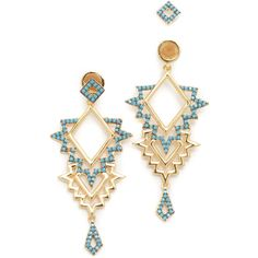 Noir Jewelry Tatina Earrings ($73) ❤ liked on Polyvore featuring jewelry, earrings, noir jewelry, multi colored jewelry, 18 karat gold jewelry, 18k jewelry and two sided earrings