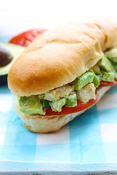 Skinny Chicken Avocado Salad Sandwich