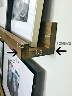 Barn look for WAY less Simple DIY picture frame ledges to fill odd w. - The Pottery Barn look for WAY less Simple DIY picture frame ledges to fill odd w. - How-to-Make-DIY-Photo-Ledges-Tutorial Easy picture-ledge shelves (and staining technique) Easy Home Decor, Handmade Home Decor, Cheap Home Decor, Home Decor Ideas, Cadre Photo Diy, Diy Photo, Pottery Barn Look, Pottery Barn Kitchen, Pottery Barn Office