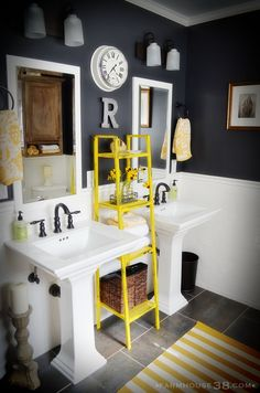 I'm thinking grey and yellow for the kids bathroom- love everything in here!