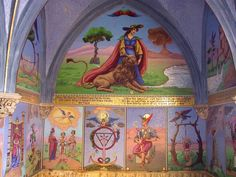 Tarot mosaic mural in chapel of Avenieres