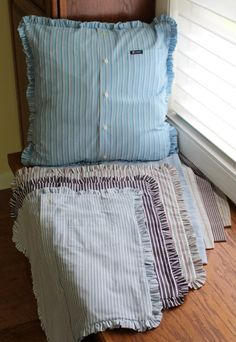 Custom Memory Pillow With Ruffle Made from Button Down Shirt Made to Order from YOUR Shirt - Pillows Case - Ideas of Pillows Case - Custom Memory Pillow With Ruffle Made from Button Down Shirt Sewing Hacks, Sewing Tutorials, Sewing Crafts, Sewing Projects, Sewing Patterns, Diy Pillow Covers, Custom Pillow Cases, Custom Pillows, Sewing Pillows
