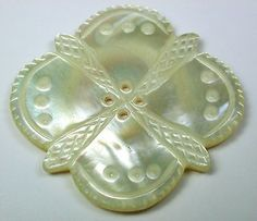 Antique Iridescent Mother of Pearl Shell Large Size Hand Carved - Gorgeous!
