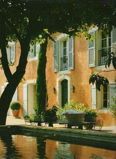 Another Provence maison with a lovely mellow colour scheme; the courtyard has a beautiful stone basin. Beautiful Homes, Beautiful Places, Provence France, Provence Style, French Country House, South Of France, House Ideas, Around The Worlds, Home And Garden