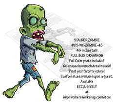 05-WC-ZOMBIE-45 - Stalker Zombie Yard Art Woodworking Pattern. From out of the darkness comes this walker zombie and he is stalking you for your brains!!! This zombie project would look great in the yard, on the porch, in a store window or your favourite Halloween haunt! Choose to paint as little or as much detail as you want. Or experiment with the black silhouette to create your own scary characters! #diy #woodcraftpatterns