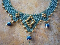 Blue and Gold Netted Collar Necklace by BellaDonnaBead on Etsy, $45.00
