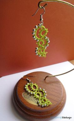 Green Tatted Swirl Earrings with Silver by ModernlyVintageCraft, $20.00
