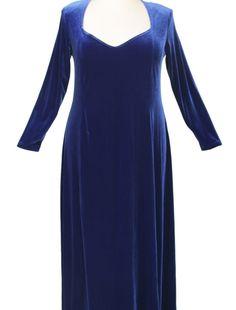 Plus Size Juliet Evening Dress Long Sleeves Royal Blue Lycra Velvet 14 – 36 Formal Dresses With Sleeves, Long Sleeve Evening Dresses, Simple Dresses, Plus Size Dresses, Plus Size Outfits, Amazing Dresses, Mature Fashion, Fashion Over 50, Curvy Fashion