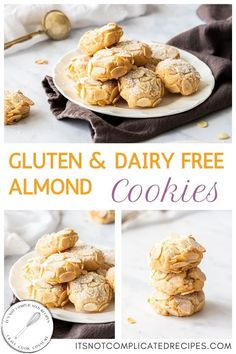 These delicious Almond Cookies are both Gluten and Dairy Free. Gluten Free Almond Cookies, Cookies Sans Gluten, Dessert Sans Gluten, Gluten Free Desserts, Easy Desserts, Gluten Free Recipes, Homemade Desserts, Chocolate Chip Shortbread Cookies, Toffee Cookies