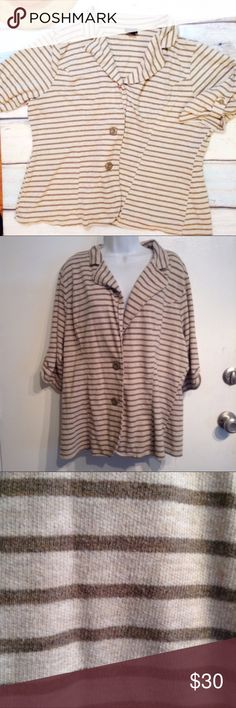 TORRID Plus Size Lightweight Striped Knit Blazer Torrid plus size lightweight knit striped blazer style cardigan. Great neutral taupe color with darker taupe/grey stripes. Cropped and cuffed sleeves. Double button closure. Has minor piling. Torrid size 3. Soft and stretchy. Perfect for layering and can be dressed up for a business casual look or down with a tee and shorts for an everyday look. No modeling. Smoke free home. I do discount bundles. torrid Jackets & Coats Blazers