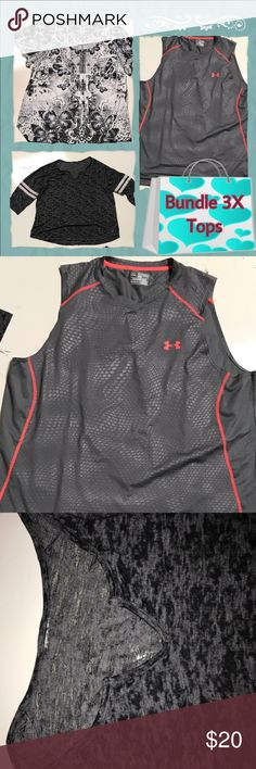 bundle of three tops size 3X Emerald blouse three acts under armor I believe it's a men's workout top but I have not sold so I putting a part of this bundle not really charging for it and there's also a sheer material jersey looking shirt the tags are missing I'm positive it's a 3X Under Armour Tops