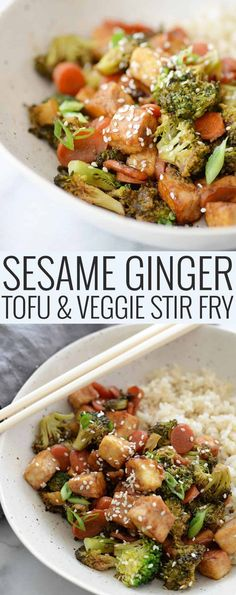 Sesame Ginger Tofu and Veggie Stir-Fry! Looking for a healthy dinner option? This is it! Perfectly crisp tofu, broccoli and carrots in a sesame-ginger-garlic sauce. Vegan & Gluten-Free. #vegan #glutenfree #vegetarian #stirfry #healthy #weeknightdinner #tofu #dinner | www.delishknowledge.com