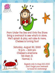 Mermaid, Under the Sea, Birthday Party Invitations. $11.00, via Etsy.