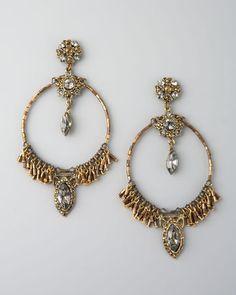 ShopStyle: Aldazabal Bead-Fringe Circle Earrings- nelman marcus