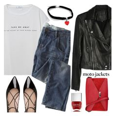 """Moto Jackets"" by anamarija00 ❤ liked on Polyvore featuring MANGO, Kate Spade, Wrap, Paige Denim, CÉLINE and motojackets"